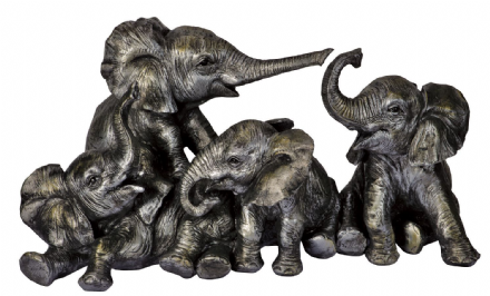Family of Trumpeting Elephants Ornament